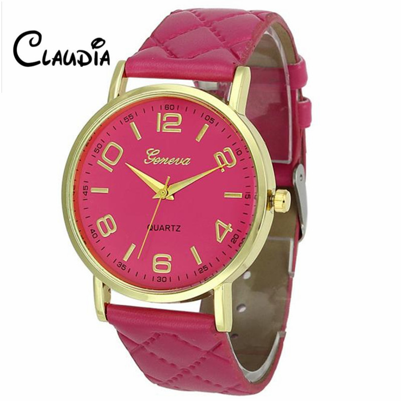 Hot sale 9Colors CLAUDIA Fashion Women Geneva Faux Leather Analog Quartz Wrist Watch Dropship high quality Relogio Feminino relojes mujer 2017 fashion women casual geneva roman leather band analog quartz wrist watch hot sale bayan saat relogio feminino