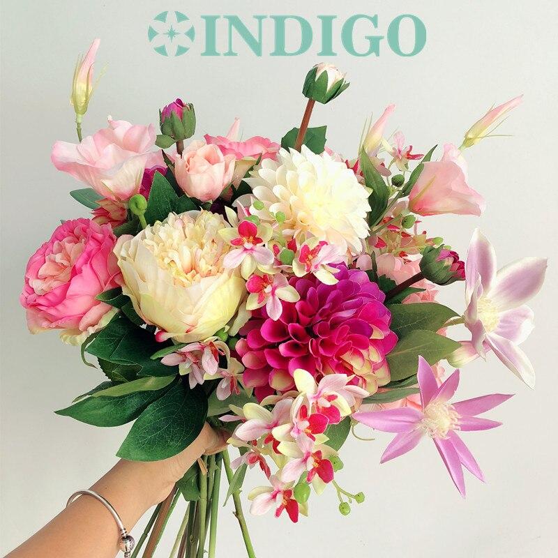 Ventes exclusives-1 ensemble Bouquet Rose Eustoma + Dahlia + thé Rose Arrangement mariage mariée Bouquet fête événement livraison gratuite