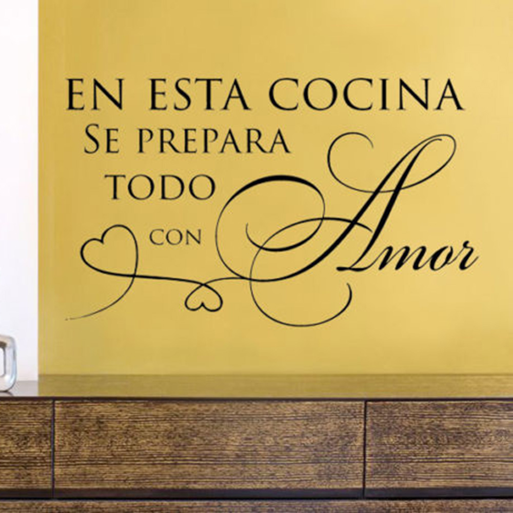 En esta cocina se prepara todo con amor Espanhol Z953 Cozinha Decalque Da Parede Do Vinil Adesivo Início Decoração de Interiores Papel De Parede
