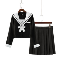 Japanese Student Uniform Sweet College School Jk Sailor Suits Lolita Pleated Skirt Suit Long Sleeve Bowtie Shirt Mini Skirt Sets