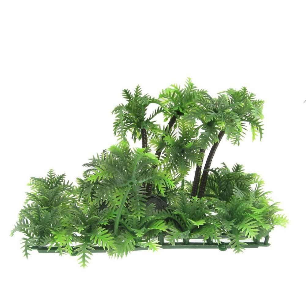3.9-Inch Height Green Artificial Decorative Coconut Tree For Aquarium Fish Tank Decoration Accessories Ornaments Supplies