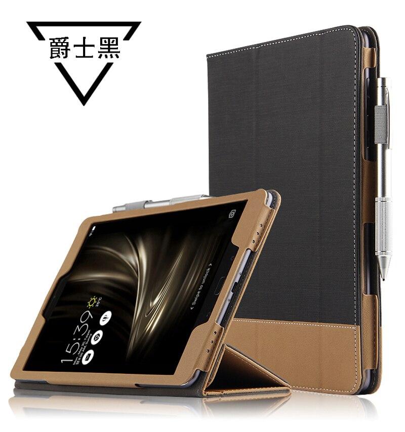 Ultra Slim 3-Folder Canvas Flip Stand PU Leather Cover Funda Case For Asus Zenpad 3S 10 Z500M Z500 Z500KL P027 9.7 inch Tablet case for asus zenpad z500kl slim magnetic folding smart cover pu leather case for asus zenpad 3s 10 lte z500kl 9 7 inch film pen