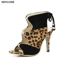 NEMAONE New leopard lace up women sandals thin high heels shoes woman summer style party wedding shoes