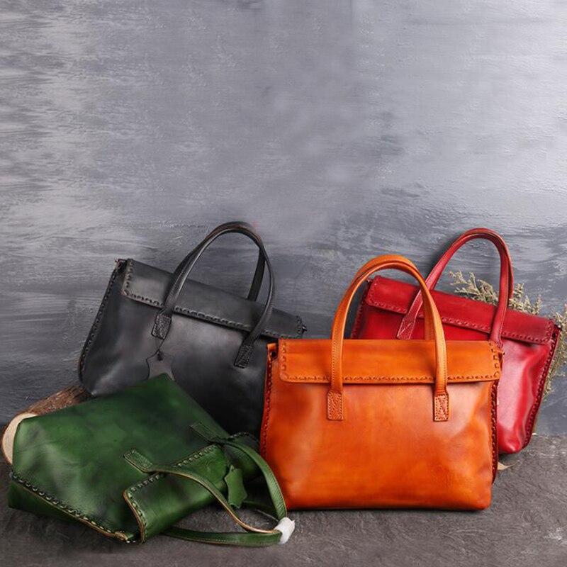 Women Casual Tote Bag Female Handbag Vintage Cowhide Big Shoulder Bag for Women Ladies Retro Genuine Leather Crossbody Bags