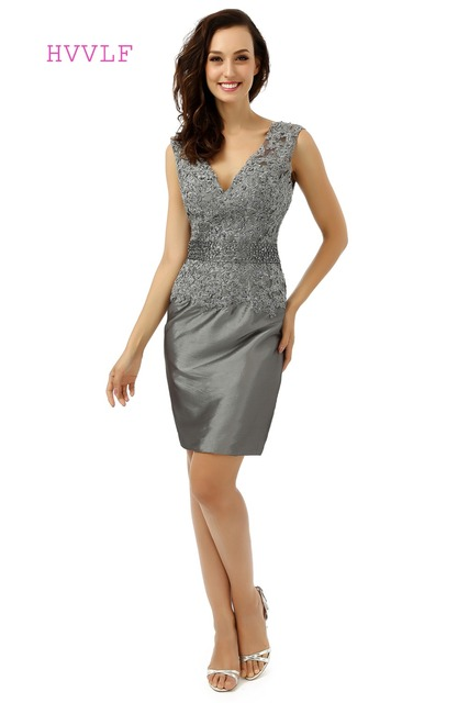 Gray 2018 Mother Of The Bride Dresses Sheath V Veck Cap Sleeves Lace Beaded  Summer