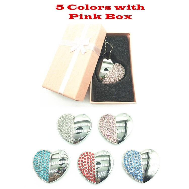 2017 Beautilful 5 Colors Metal Heart Pendrive + Pink Box 4GB 8GB 16GB 32GB 64GB Diamond Heart USB 2.0 Flash Drive Memory Stick