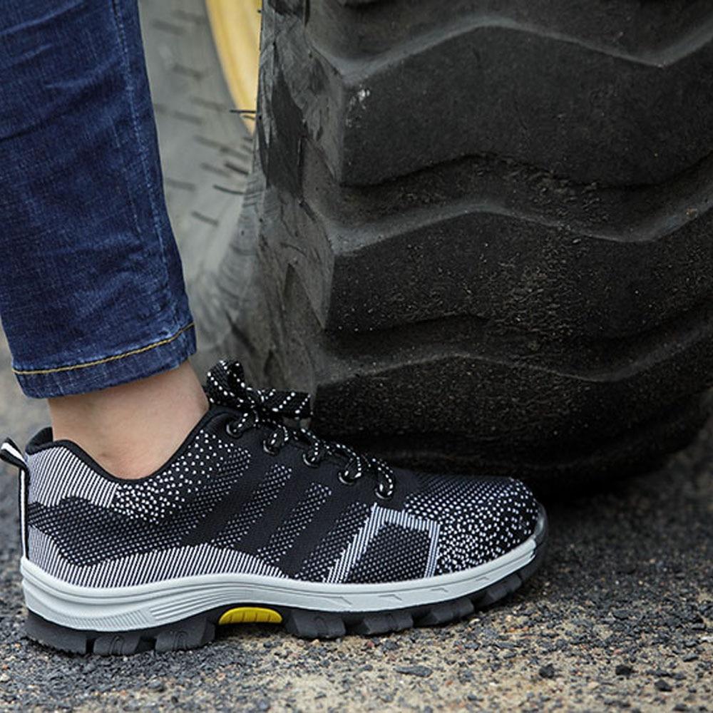 Zapatos de seguridad de trabajo con puntera de acero de 47 48 tallas grandes transpirables para hombre, zapatos de seguridad de construcción a prueba de pinchazos para exteriores