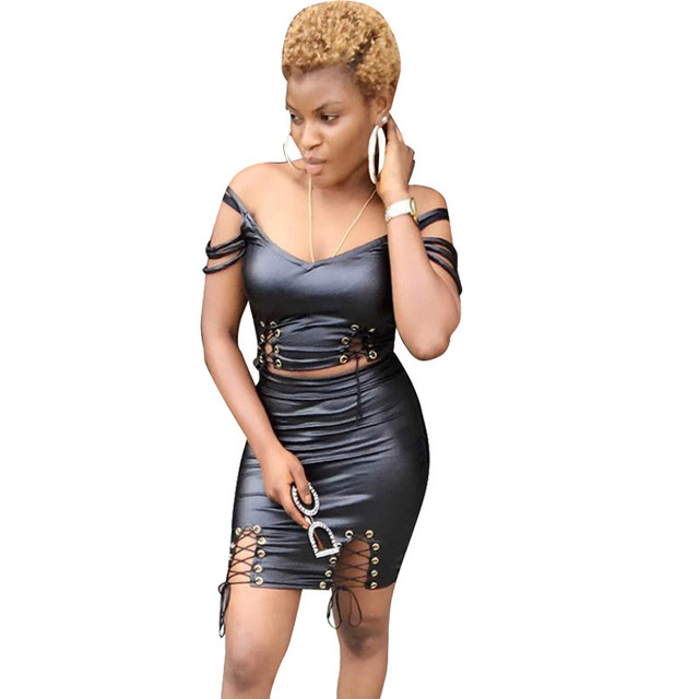 Black PU Leather Sexy Two Piece Skirt Set Women Lace Up Crop Top and  Bodycon Mini Skirt Suit Set Club Two Piece Dresses Outfits 7e67292259a3
