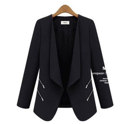 Genuine Slim Fit Small Suit Spring Autumn Zipper Pocket Women   Jacket   in women's   basic     jackets   Fit   Jacket   Ladies Office Work Wear