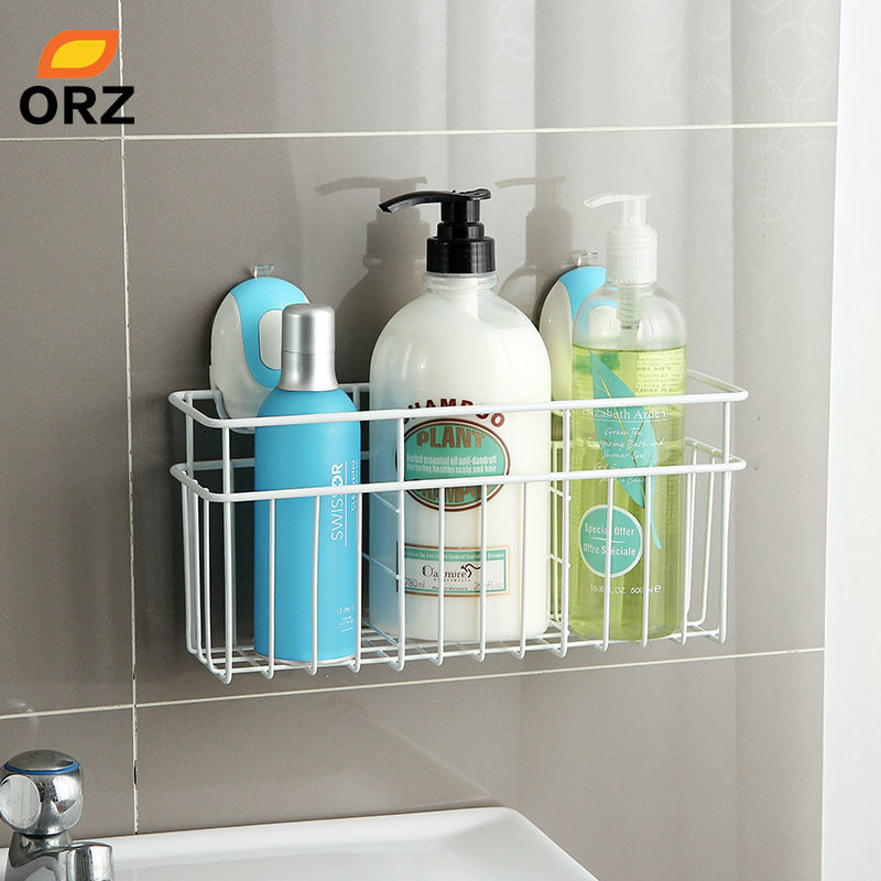 ORZ Kitchen Bathroom Storage Basket With Suction Cup Holder Rack ...