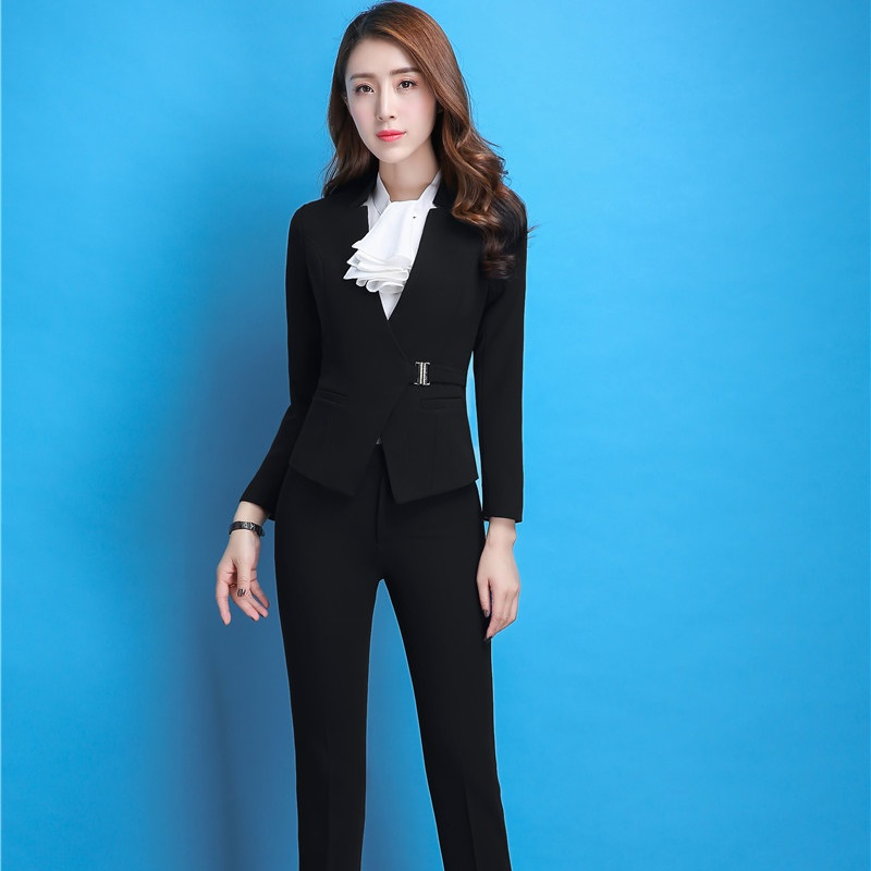 Formal Uniform Styles Female Pantsuits With Jackets And Pants For Women Business Work Wear Pants Suits Ladies Blazers Plus Size