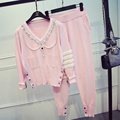 2017 Time-limited Limited Polyester Blends Full Tracksuits Women's Wear Nail Bead V-neck Sweater Coat Feet Pants Fashion Suits