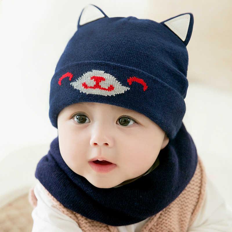 bd63b65300794 2pcs toddler hat snood baby boy girl hat kids hats newborn cap girls muts  boys beanie winter 2018 cute children caps + scarf set