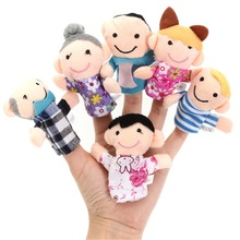 7cm Finger Puppets Family Dolls Plush Cloth Toy Cute Baby Bed Stories Fairy Stuffed Funny For Children Kids Toys 6Pcs