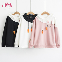 Japanese Women Hoodies Anime Lovely Pullover Kawaii Rabbit Sweatshirt Tracksuit Cute Bunny Graphic Outerwear Pink Black Hoodie