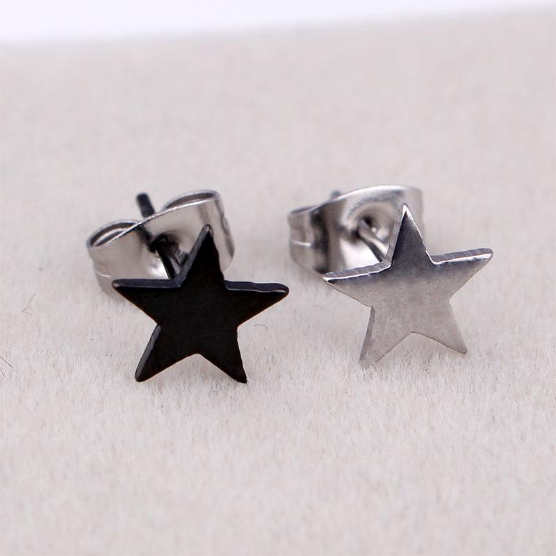 Fashion Women Men Small Stars Earrings Silver Black Stainless Steel Small Petagram Stars Love Stud Earrings Jewelry