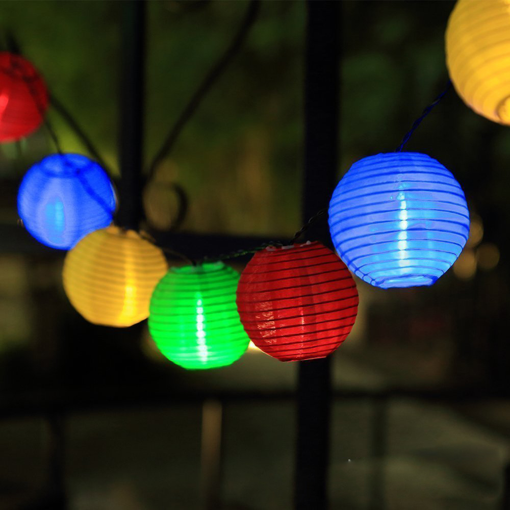 Tanbaby Lantern Solar String Lights Outdoor Globe Lights 5M 20 LED Warm  White Fabric Ball Christmas Lights For Garden Path