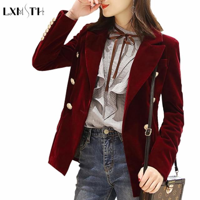 2019 Spring Korean Fashion Double Breasted Velvet Blazer Women Slim Ladies Formal Blazers Long Sleeve Solid Casual Suit Coat