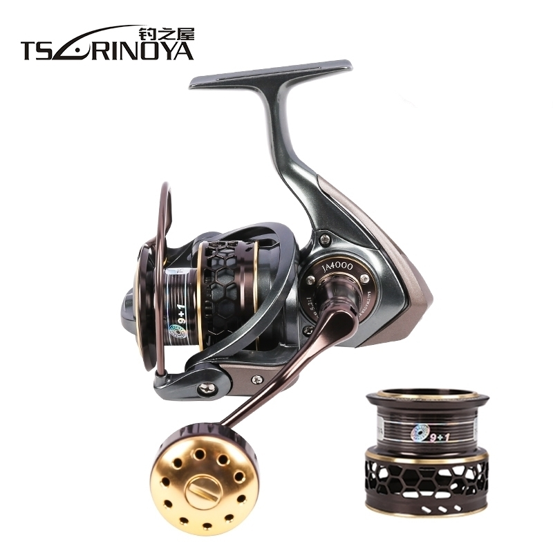 TSURINOYA Jaguar 4000 Double Spool 9+1BB Saltwater Fishing Spinning Reel 7kg Max Drag Carp Jigging Boat Spinning Fishing Reel tsurinoya fs3000 spinning reel 9 1bb 5 2 1 bevel metal spool lure reel max drag 7kg molinete para pesca for saltwater fishing