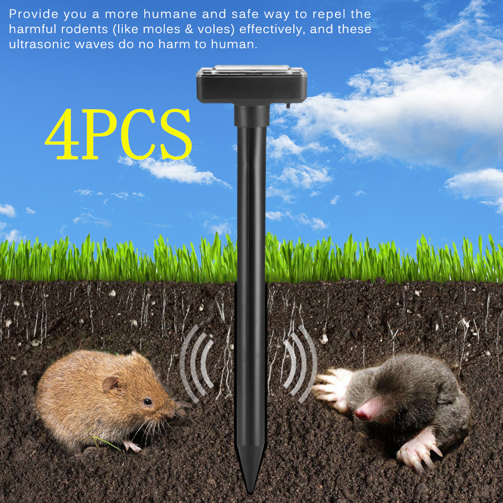 4X Solar Powered Ultrasonic Sonic Mouse Mole Pest Rodent Repeller Repellent Yard
