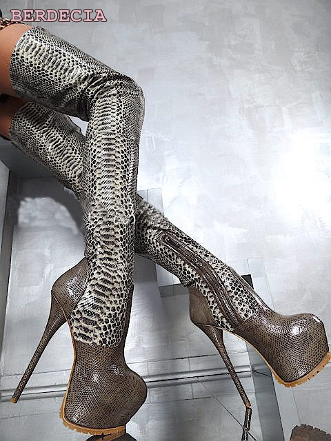 Hot selling python leather 16 cm high hell over-the-knee long boots platform high quality stiletto heel thigh high shoes come hell or high water