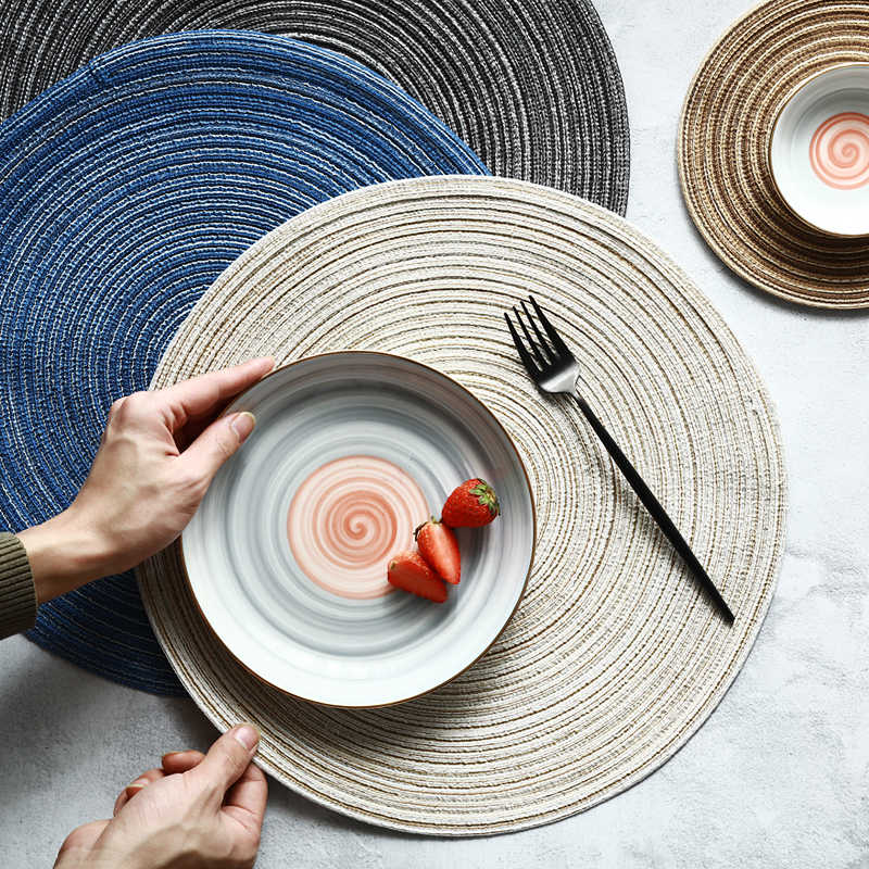 Modern Style Hand Made Table Mat Cotton Linen Knitting Placemat Pad Round Coasters Kitchen Accessories Table Decoration