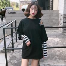цена на 2019 Korean fashion open Shoulder Women T Shirt Long Sleeve O Neck Letter Print Hip Hop Punk oversized Striped girls vintage Tee