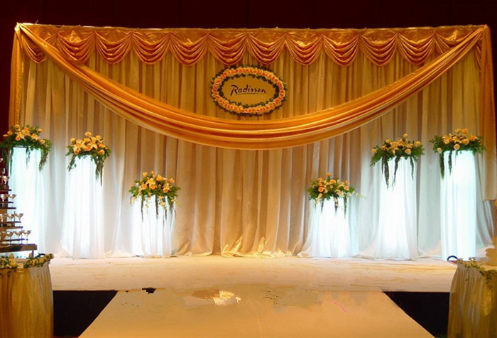 Free Shipping Luxury Gold Wedding Backdrop Stage Curtain Decoration China Mainland