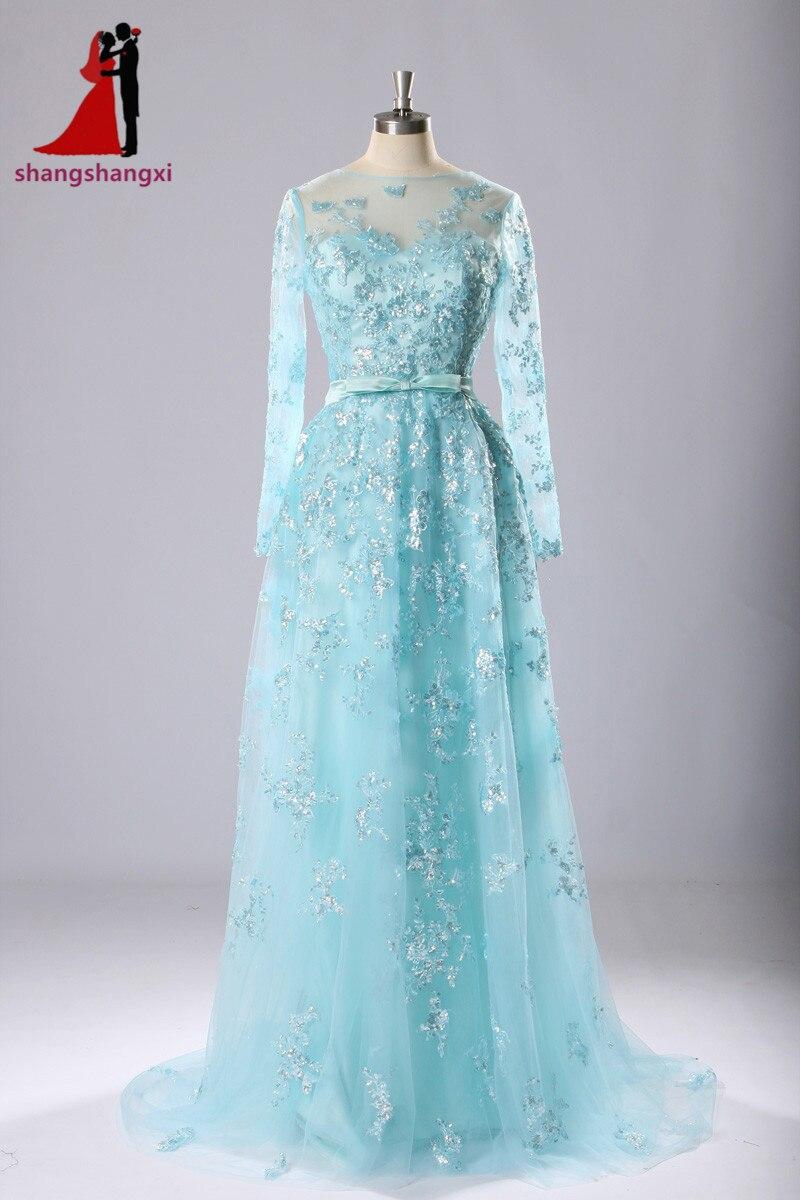 Dubai Turquoise Long Evening Dresses For Wedding 2017 Appliques Long Sleeves Plus Size Formal Vestidos De Festa Robe De Soiree
