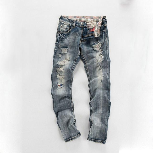 2016 Otoño Nueva Moda Hombres Apenada Gris Biker Jean Pantalones Con Agujeros Rasgados Pantalones Vaqueros Rectos Mendigo Retro Famosa Marca de Ropa
