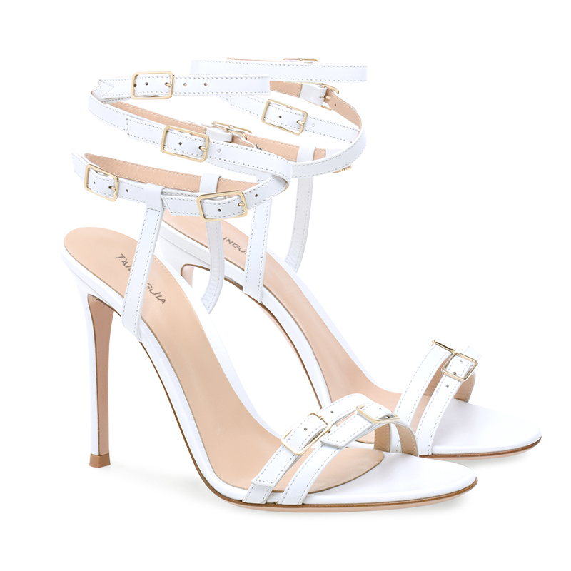 Moda Multi hebilla enjaulada sandalia mujeres Stiletto tacón sandalias blanco de tiras con tacones altos señoras verano vestido de fiesta zapatos - 6
