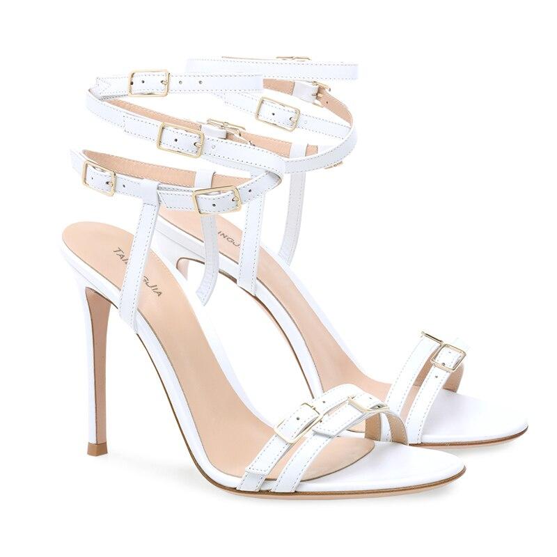 Trendy Multi Gesp Gekooide Sandaal Womens Stiletto Hak Sandalen Wit Hakken Strappy Hoge Hakken Dames Zomer Party Dress Schoenen - 6