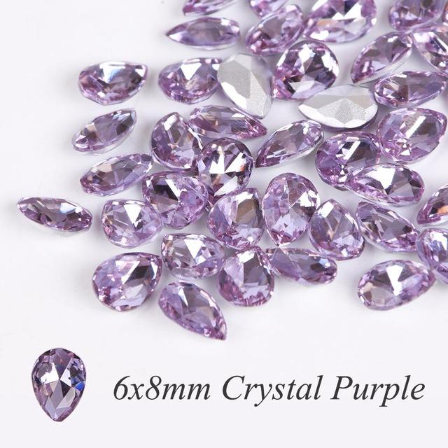 10pcs Glass Crystal Rhinestones 3D Water Drop Stones Nail Art Decoration Strass Polishing Charm Design Accessories Jewelry BE030