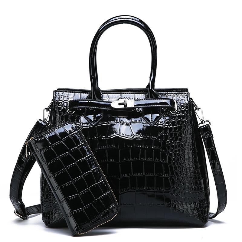 2 Set Women Crocodile Pattern Handbag Leather Large Shoulder Bag Black Female Hobos Bag Alligator Handbag Messenger Bags