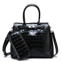 2019 2 Set Women Crocodile Pattern Handbag Leather Large Shoulder Bag Black Female Hobos Alligator Messenger Bags