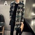 Abrigo de lana hombres de la chaqueta de invierno los hombres 2016 nueva llegada de la manera Patrón Irregular abrigo para los hombres más el tamaño de lana ocasional larga abrigos