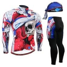 2017 Skulls Brand Men's Cycling Jersey sets Mountain Outdoor Sport Wear Racing Clothing Cycle Jerseys skull Winter Long Sets
