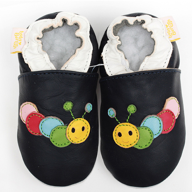 Leather Baby Moccasins Animal Baby Kids Shoes Boy Slipper Soft Sole Baby Shoes Footwear Dark Blue Toddler Infant Shoes 0-4y