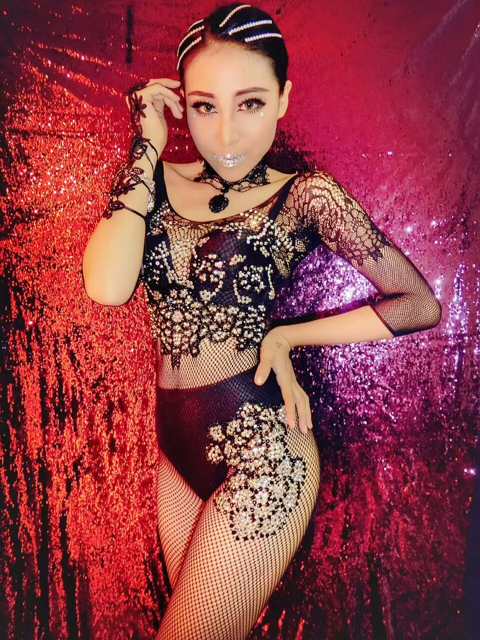 Nightclub Black Rhinestones Jumpsuits Sexy Mesh Perspective Bodysuit Stage Dance Wear Women's Evening Celebrate Singer Costume