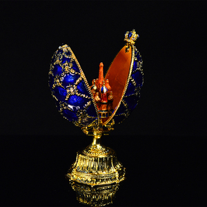 Image 4 - QIFU 러시아 빨간색 파란색 녹색 Faberge 계란과 미니어처 성 홈 장식 선물에 대 한 공예에