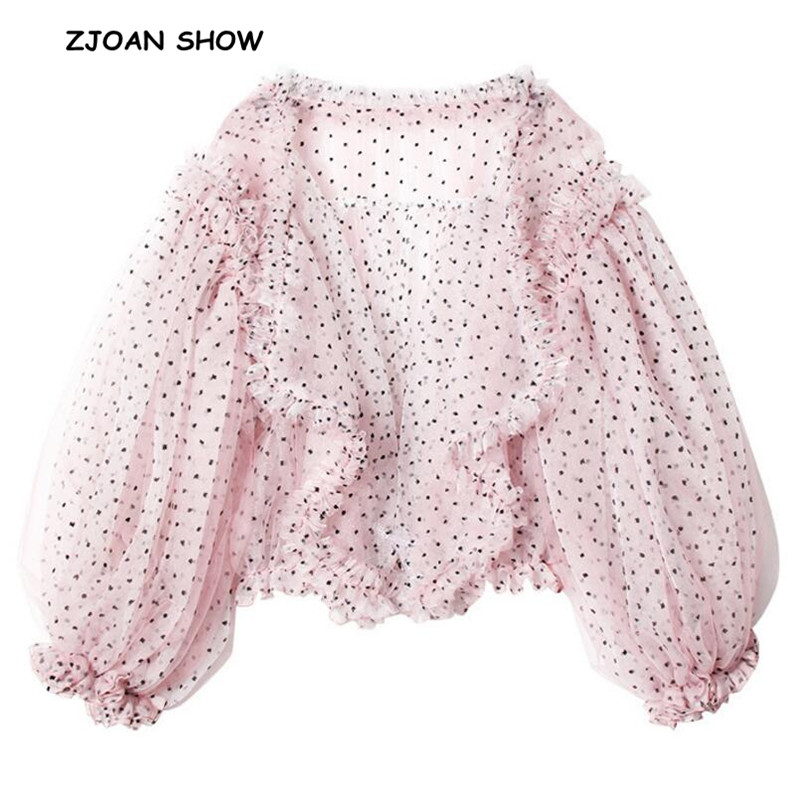 2019 Spring Summer New Women 3D Dot Mesh Wood Ear Ruffles Shirt Korea Pink Lantern Long Sleeve See Through Blouse Loose Tops