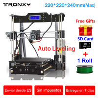 Tronxy 3d принтер DIY Набор высокоточная печать области 220*220*240 мм автоматическое выравнивание 3d Принтер Комплект принтер 3d Подогрев кровать экст