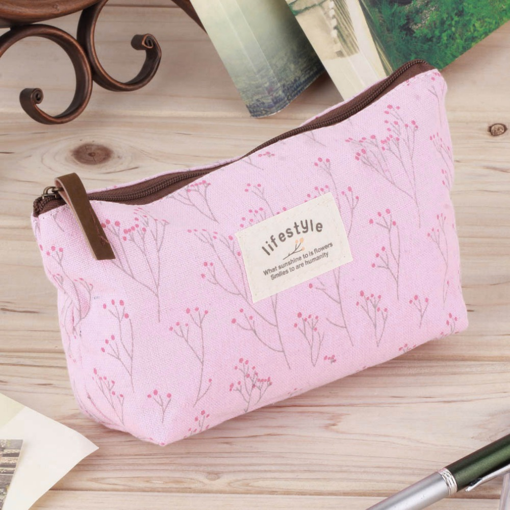 1Pc Vintage Flower Floral Pencil Pen Canvas bag Cosmetic Makeup Storage Pouch bag Case Purse Promotion cartoon cosmetics bag pokemon go gravity purse bag received wallet makeup pencil pen case bag zelda pokemon ball purse bag wt004
