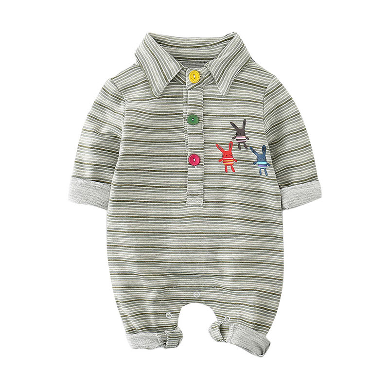 Fashion spring and autumn solid color stripes long sleeve infant bodysuit MD170Q046