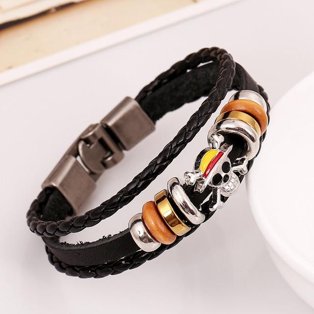 Multilayer Braided Bracelet Men Leather Pirate Skull Bracelets & Bangle
