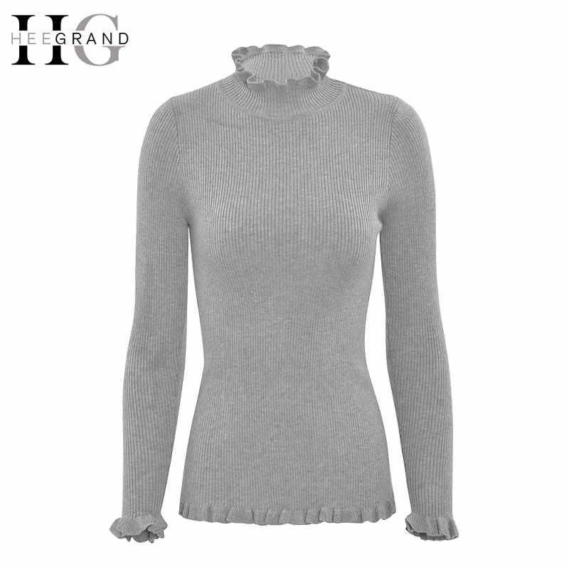 HEE GRAND/красочные пуловеры с длинным рукавом 2018, осенняя мода, тонкий эластичный женский свитер с оборками, Однотонный женский свитер WZL665