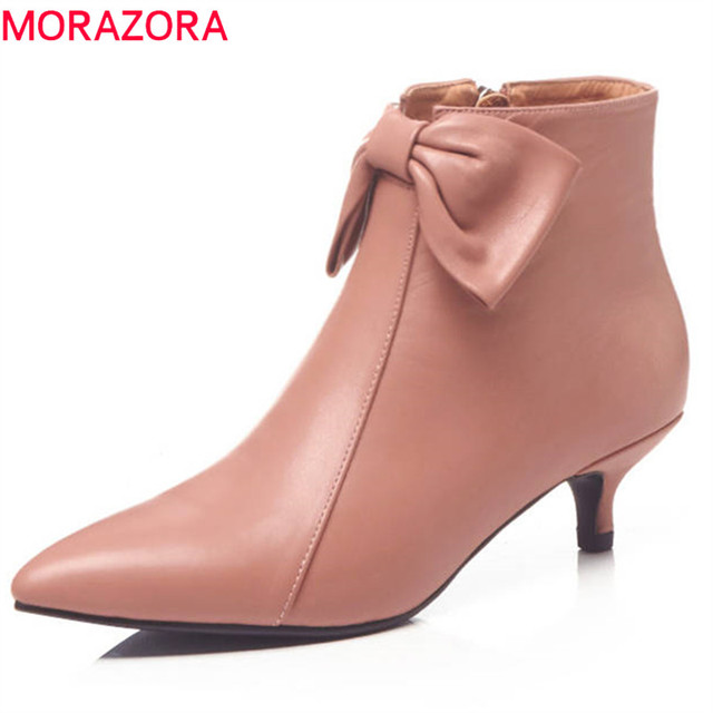MORAZORA 2018 genuine leather ankle boots for women pointed toe bowknot elegant stiletto heels shoes zipper spring autumn boots