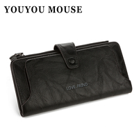 YOUYOU MOUSE Retro Multi Function Wallet 2 Fold Zip Hasp High Capacity Women S Card Holder