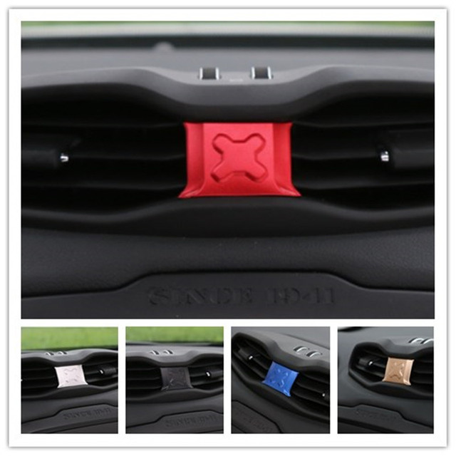 Center Air Vent Trim Cover Interior Accessories Parts Red Blue Gold Black Silver ABS Decoration For Jeep Renegade