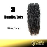 Free Shiping 12''~22'' Kinky Curly 3 Bundle/lots QWB Top Grade Virgin Brazilian Hair With Cuticle Intact